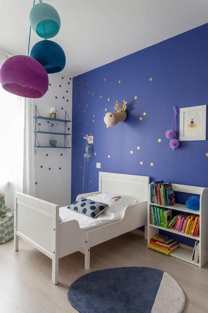 chambre petite fille bleu indigo contemporain