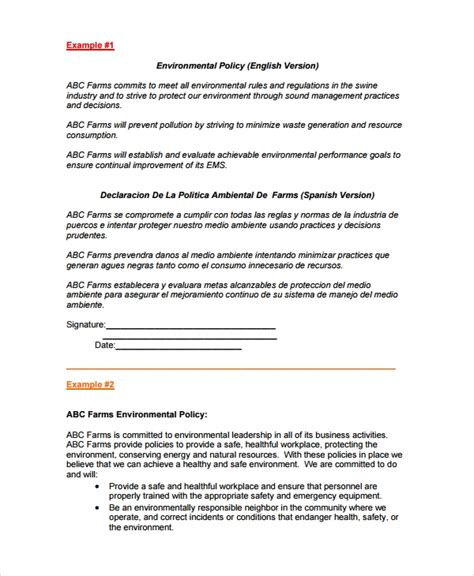environmental policy templates  premium templates