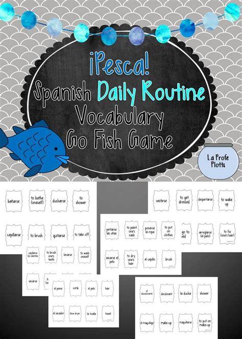 spanish daily routine vocabulary pesca  fish game