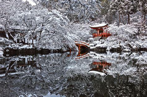 japan winter pagoda snow water pond reflection