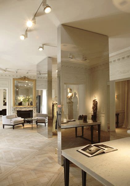 """Mirrored """"columns""""  Balmain Showroom  Retail Interiors. Luxury Bedrooms. Sliding Door Company. Purple Coffee Table. Wood Headboards Queen. White Nightstand. Basement Color Schemes. Embers Fireplace. Farmhouse Ceiling Lights"""