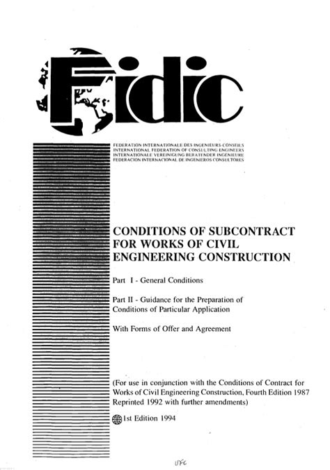 fidic conditions  subcontract agreement