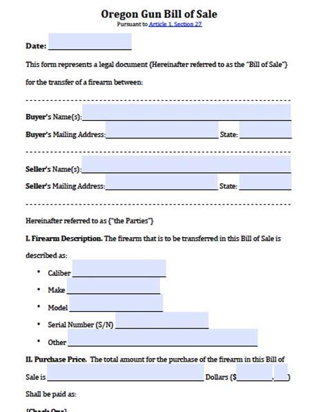 oregon firearmgun bill  sale form  word