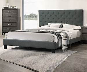 Full, Size, Bed, 1pc, Set, Charcoal, Color, Bedroom, Furniture, Set, Beautiful, Tufted, Hb