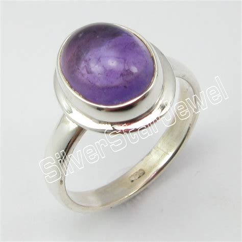 925 Stamped Sterling Silver Amethyst Handcrafted Ring Size