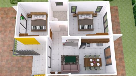 Small House Plans 7 5x11 with 2 Bedrooms Full plans Best