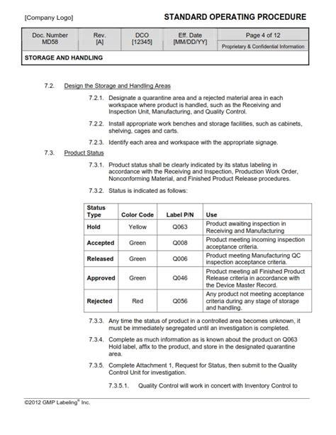Material Controls Sop Templates Group Md500 Gmp Qsr
