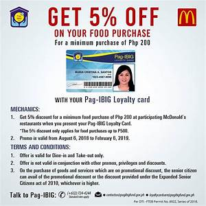 Code Promo Mcdo : pag ibig loyalty card 5 off on mcdonald 39 s food purchase gogetvouchers ~ Medecine-chirurgie-esthetiques.com Avis de Voitures