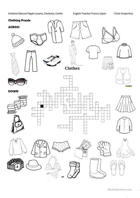 clothing puzzle worksheet  esl printable worksheets