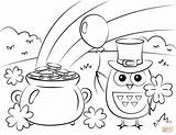 Coloring Patricks St Pages Rainbow Pot Gold Owl Saint Patrick Printable Supercoloring 2021 Clover Sheets Colouring Printables Paper Adult Colored sketch template