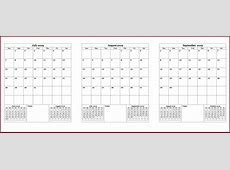 2019 Quarterly Calendar Template Calendar 2018