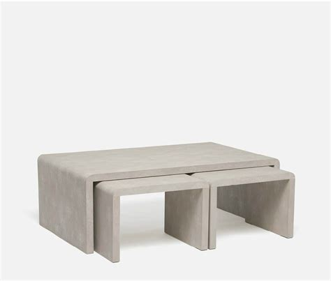 shagreen coffee table square made goods harlow nesting coffee tables sand