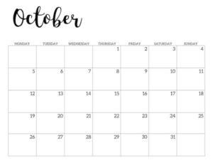printable  calendar monday start paper trail