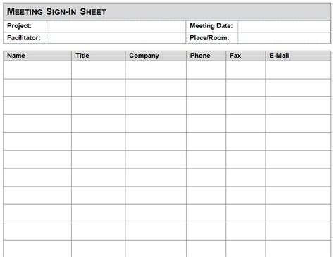 meeting sign  sheet template meeting sign  sheet