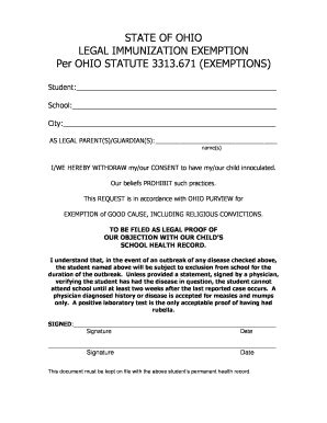 ohio vaccine exemption form vaccine exemption letter fill online printable