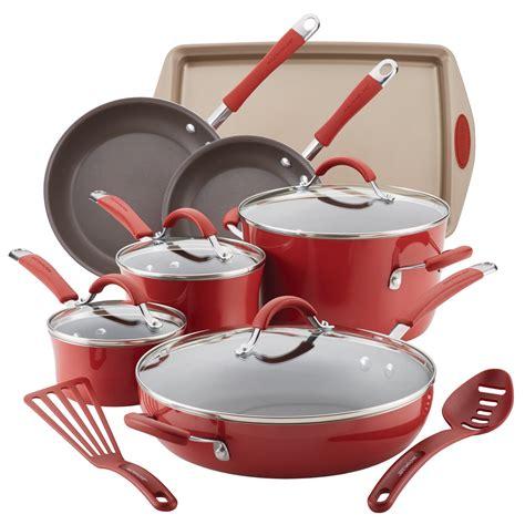 rachael ray porcelain cookware pans pots enamel nonstick piece hard cranberry cucina pot walmart spout pasta qt covered quart sets