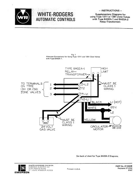 White Rodger Ignition Wiring Diagram by White Rodgers 1361 102 Zone Valve Wiring Diagram