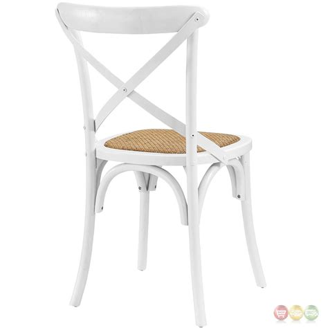 gear modern country wooden quot x quot back side chair w rattan