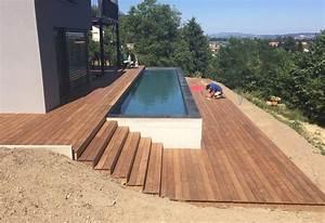 terrasse en bois ipe et entourage piscine avec escalier With terrasse bois avec piscine 0 terrasses en bois