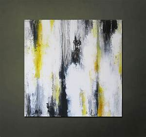 Modern Contemporary Abstract Yellow, Gray, Black, White ...