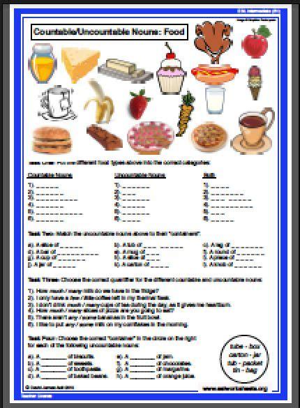 esl food worksheets  countable nouns food worksheets