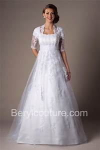 modest a line princess square neck high back lace beaded With short sleeve a line wedding dress