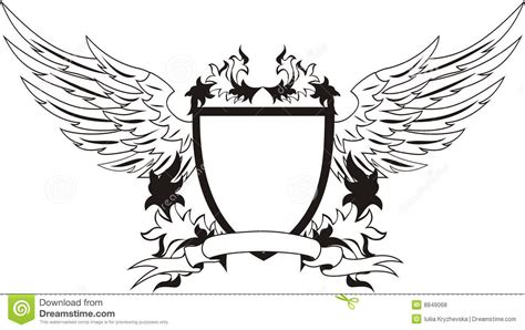 coat of arms template wings vintage shield with wings for your design vector i stock