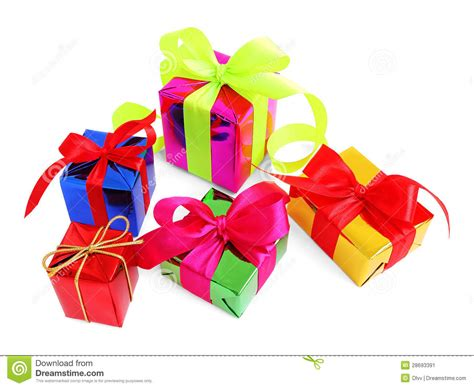 Five Various Glossy Gift Wrapped Presents Stock Image