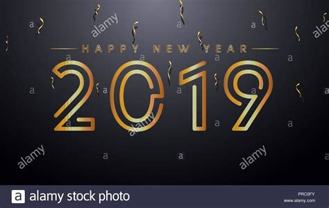 best color schemes for new years backrground 2019 happy new year background with golden text and confetti gold and black colors stock vector