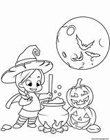 Coloring Witch Halloween Potion Cauldron Cooking Printable sketch template