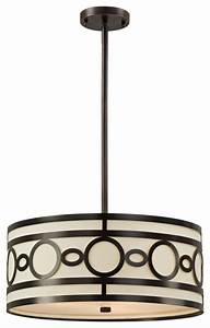 Transitional contemporary quot wide bronze drum pendant