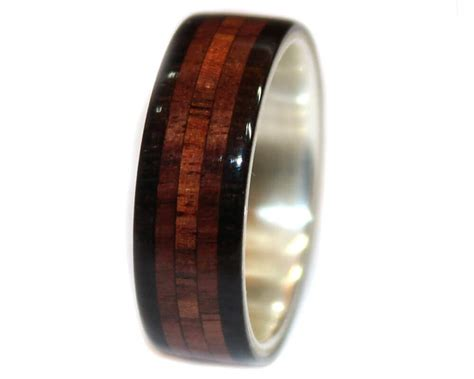 blackwood rosewood sterling silver wooden rings