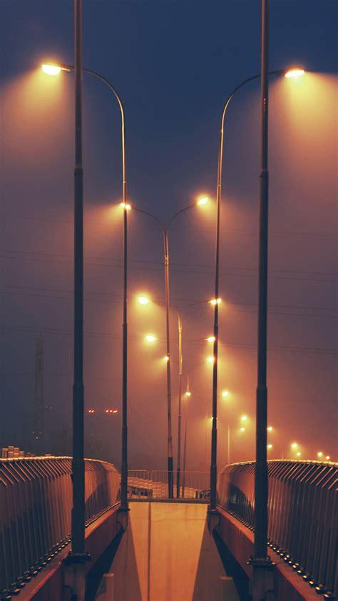 mv night bridge city view lights street orange dark