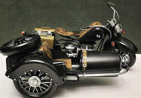 Black Large Scale Tinplate Bmw R71 Three-wheeled