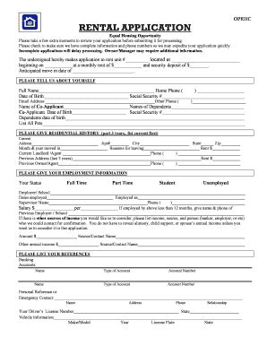 printable rental application form fill  printable