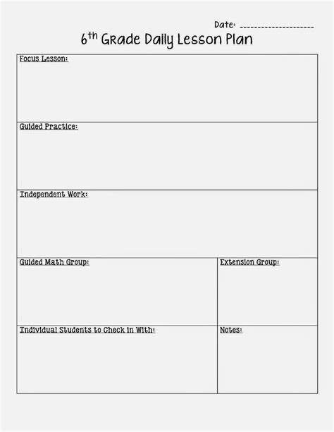 middle school math lesson plan template to help plan for