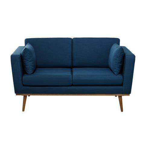 canapé 2 places en tissu canapé 2 places en tissu bleu pétrole timeo maisons du monde