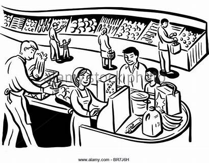 Supermarket Grocery Cashier Clipart Shopping Drawing Cartoon