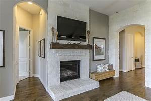 Gehan, Homes, Laurel, Fireplace, White, Stone, Fireplace, With, A, Dark, Rustic, Wooden, Floating, Mantel