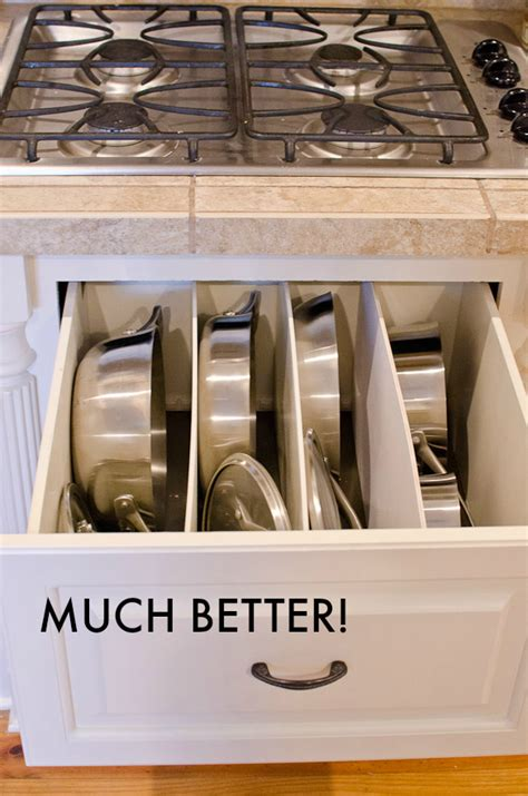 pots pans drawer diy organized kitchen organization cleaning storage organize cookware cabinet way cabinets spring remove