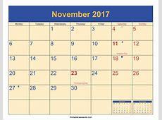 November 2017 Calendar With Holidays 2018 calendar printable