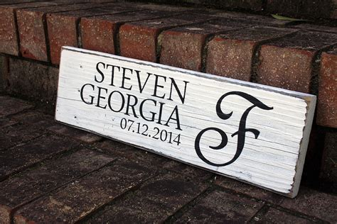 names  wedding date painted wood sign signs  andrea