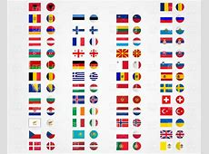 Europe and Asia flags and buttons Vector Image of Signs