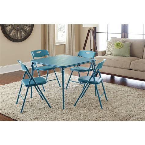Cosco Folding Table And Chairs by Cosco 5 Folding Table And Chair Set In Teal