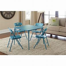 Cosco 5piece Folding Table And Chair Set In Teal