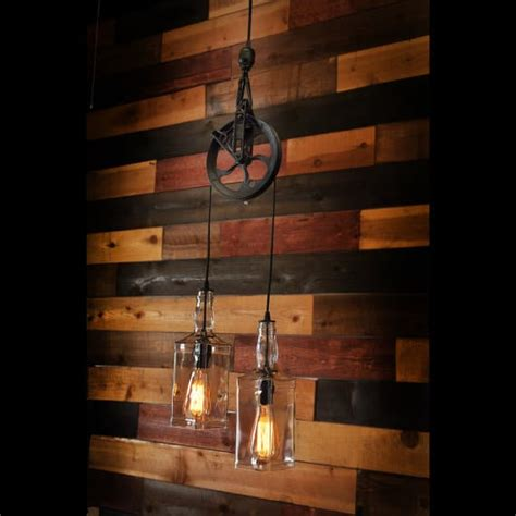 Farm Lighting by Rustic Pulley Pendant Light With Whiskey Bottles Id Lights