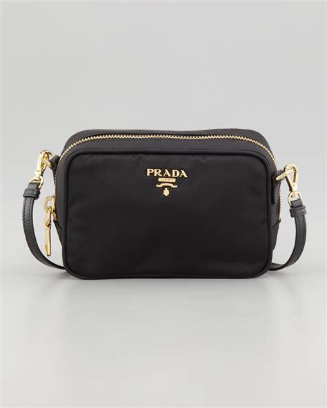 5ce418a1dd9b 1200 x 1500 www.lyst.com. Lyst - Prada Tessuto Small Cross-Body Bag in Black