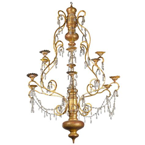 19th century italian wood iron and chandelier at