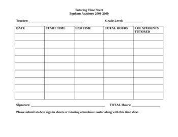 Time Log For Student Work And Template In Ms Word by Tutoring Sign In Sheet For Teachers By Carlos Salinas Tpt