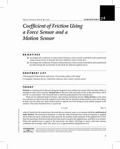 Coefficient Of Friction Using A Force Sensor And A Motion